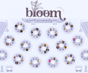 Bloom, a virtual event for new and expecting military moms. The virtual event platform is a digital room with tables, and you can see the avatar image of each person and where they are sitting.