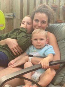meg reichert holding her two sons
