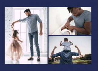 dads with kids on navy background