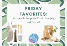 """green leaves on a white background with sustainable home products with """"Friday Favorites: Sustainable Swaps for Plastic Free July and Beyond"""" in text"""