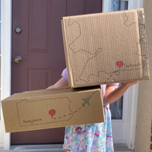 Preparing for saying goodbye - Moving boxes showing journey from Pennsylvania, USA to Portsmouth, UK