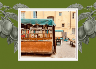 pictures of Italian square on white frame with olive green background with greyscale grape vines