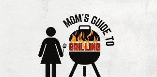 Mom's Guide to Grilling - A female silhouette holding a spatula next to a grill with fire