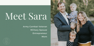 Meet Sara // Army Combat Veteran, Military Spouse, Entrepreneur, and Mom - Green background with white words and picture of Sara's family smiling at the beach (her, her husband, and two kids)