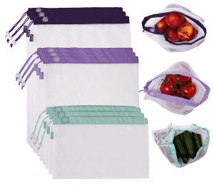 mesh produce bags in different colors and sizes