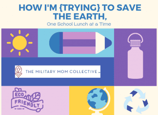 """""""How I'm {Trying} to Save the Earth, One School Lunch at a Time"""" in text with purple and blue squares and rectangles and various eco-friendly supplies, a globe, and recycle sign"""