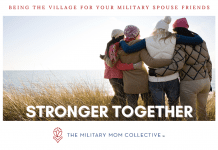 """group of friends watching coast with """"Being the Village For Your Military Spouse Friends"""" and """"Stronger Together"""" in text and MMC logo"""