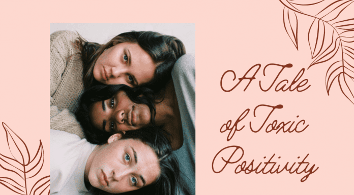 """three women together on a pale coral background with """"A Tale of Toxic Positivity"""" in text"""