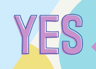 colorful and playful background with YES in large letters