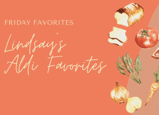 """burnt orange background with various food and """"Friday Favorites: Lindsay's Aldi Favorites"""" in text"""