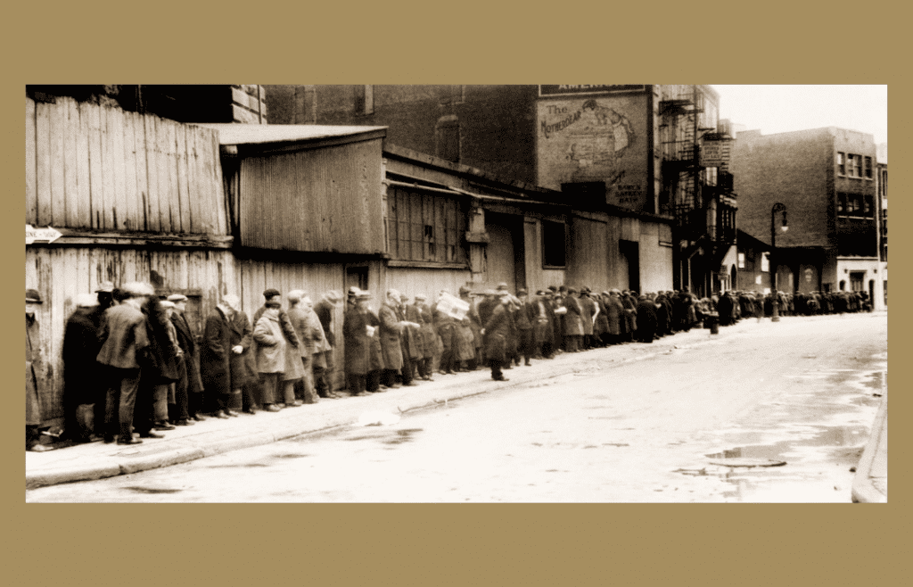 picture in sepia of people lining up for food in the Great Depression