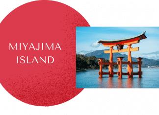 Miyajima Island on red circle with torii gate on water