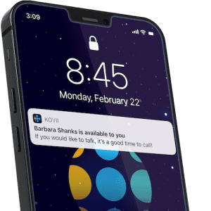iPhone with Kovii notification open on screen
