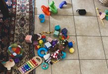 toys scattered on the floor
