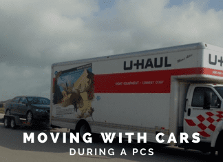"""U-Haul truck towing a car and """"Moving with Cars During a PCS"""" in text"""