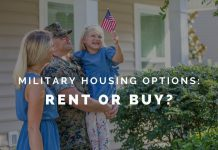 """military family in front of a house with """"military housing options: rent or buy?"""" in text"""