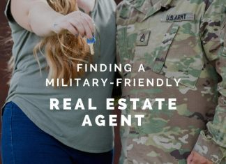 """Military couple holding keys with """"Finding a Military-Friendly Real Estate Agent"""" in text overlay"""