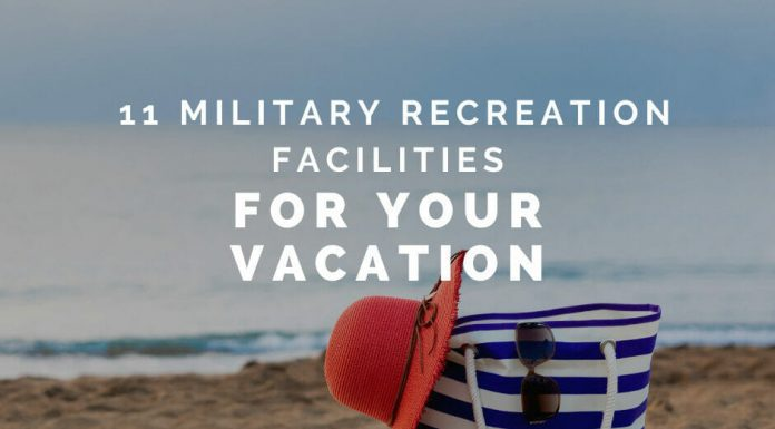 """striped bag and hat on the beach with """"11 Military Recreation Facilities for your Vacation"""" in text"""
