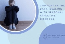 """woman sitting in sadness with blue circles and """"Comfort in the Dark: Dealing with Seasonal Affective Disorder"""" in text and MMC logo"""