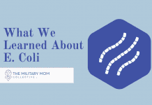 """blue hexagon with E. Coli strains and """"What We Learned About E. Coli"""" in text with MMC logo"""
