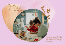 """mom and son doing school at home on a pale purple background with tan and pink heart and """"Friday Favorites: Encouraging Books for Homeschooling Mamas"""" in text"""