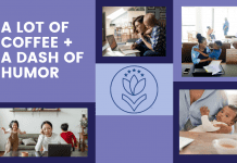 """various squares of purples and blues with mothers working from home, MMC logo, and """"A Lot of Coffee + a Dash of Humor"""" in text"""