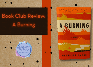 canvas paper background with black splatter dots and A Burning by Megha Majumdar book and MMC Book Club logo