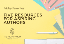 """pens, pencils, notebooks, and folders on a yellow background with """"Friday Favorites Five Resources for Aspiring Authors"""" in text and MMC logo"""