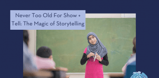 """girl in a classroom participating in show and tell with """"Never Too Old for Show + Tell: The Magic of Storytelling"""" in text and MMC logo"""