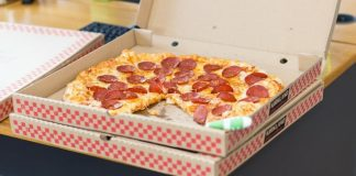 pizza in boxes