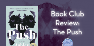 """The Push book with a dark purple Rorschach image and """"Book Club Review: The Push"""" in text"""