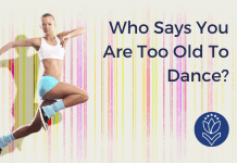 """woman leaping in a dance with multicolor stripes and """"Who Says You Are Too Old to Dance"""" in text with MMC logo"""