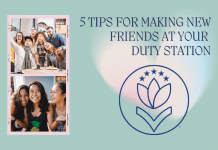 """pictures of groups of friends with """"5 Tips For Making New Friends at Your Duty Station"""" in text with MMC logo on a teal background and watercolor heart shape"""