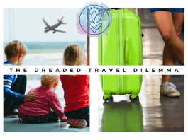 """children waiting in airport and a travel case with """"The Dreaded Travel Dilemma"""" in text and MMC logo"""