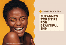 """woman laughing on a golden yellow background with """"Friday Favorites: Suzanne's Top 5 Tips for Beautiful Skin"""" in text"""
